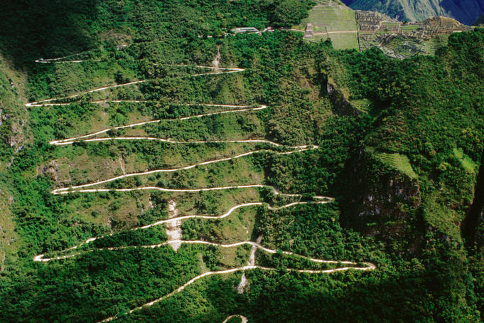 Winding mountain road leading to Machu Picchu