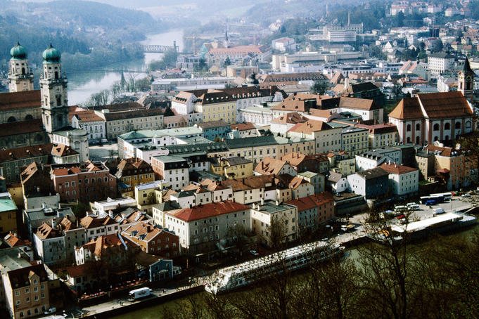 Old town of Passau with Baroque Cathedral St Stephan, at confluence of Danube and Inn Rivers.