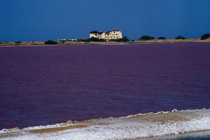 Unusual purple coloured Salina de Cumaraguas on north-eastern coast.