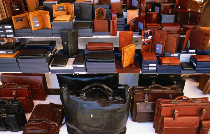Leather briefcases, wallets and valises at Cannaregio leather market.