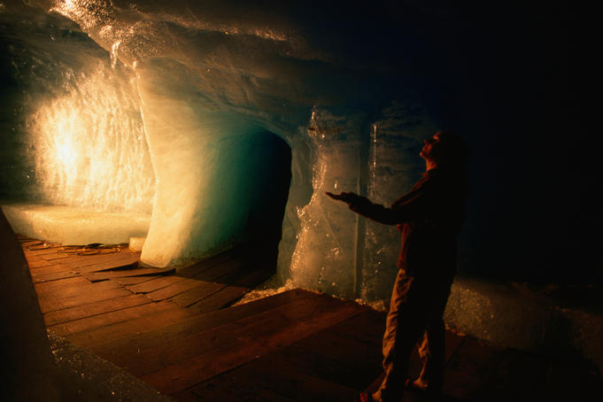 Inside ice cave of Rhone Glacier.