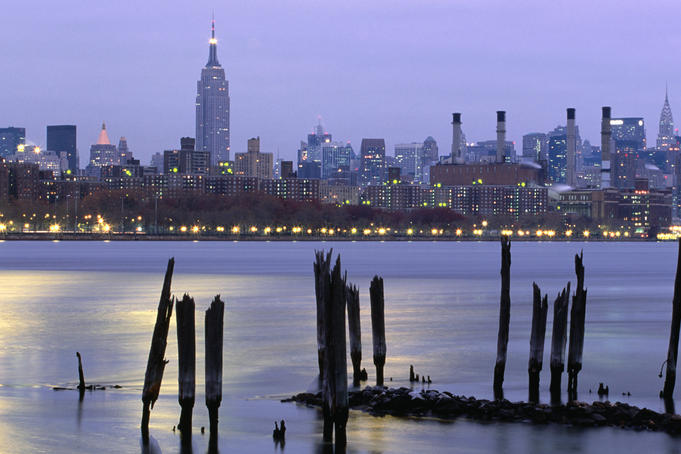 New York City skyline, seen from Brooklyn.
