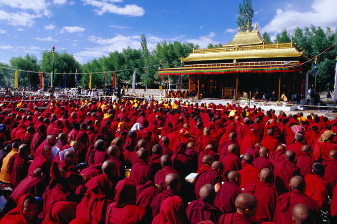 Monks and nuns at Dalai Lama sermon, Choglamsar.