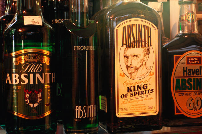 Absinthe bottles.
