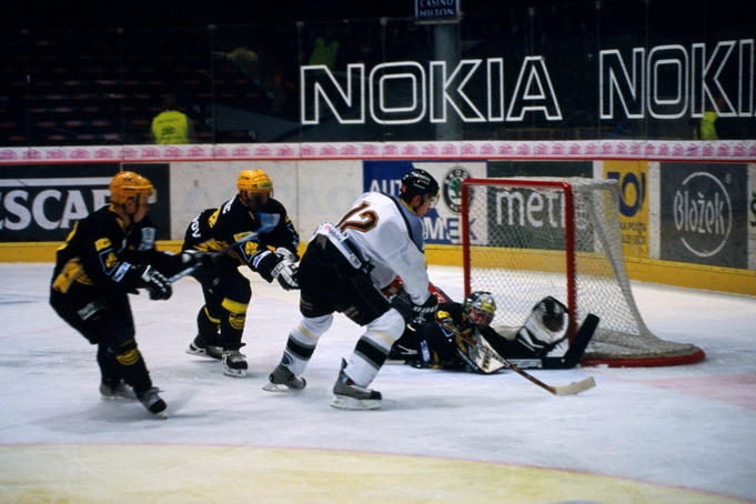 Ice hockey match of premier league teams Sparta versus Litvinov at T-Mobile Arena, stadium of Sparta Praha Ice Hockey Club.