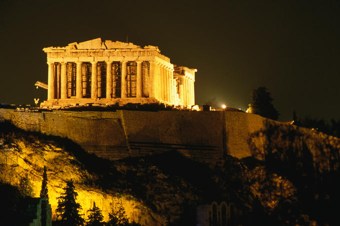Acropolis at night seen from Filopappou hill.
