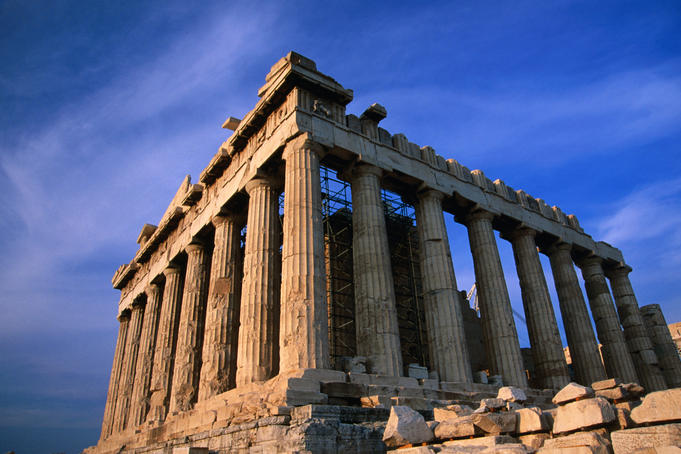 Fluted Doric columns of the Parthenon.
