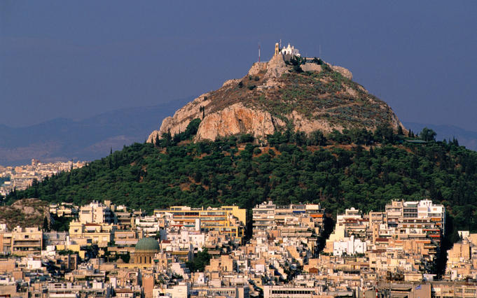 Lykavittos Hill and Athens urban sprawl viewed from the Acropolis.