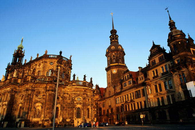 Hofkirche (left) and Rezidenzschloss at dusk from Theaterplatz, Dresden
