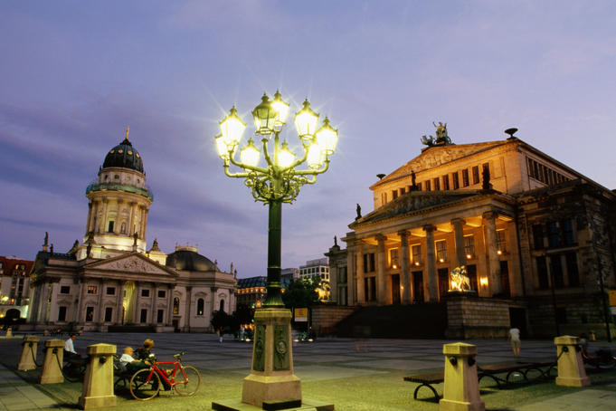 Deutscher Dom and Konzerthaus (right), Gendarmenmarkt, at dusk.