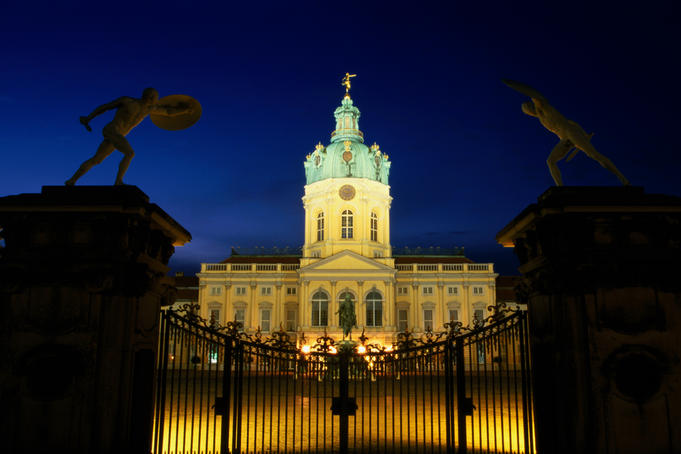 Nering-Eosander Building, Schloss Charlottenburg, lit up at night.