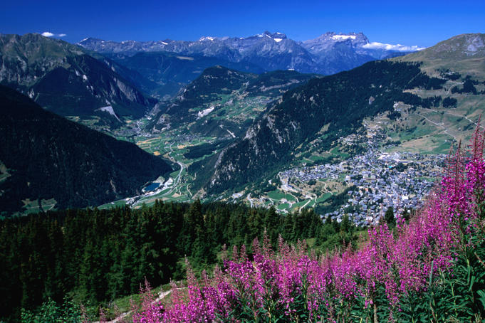 Val de Bagnes from slopes above Verbier on Haute Route walk.