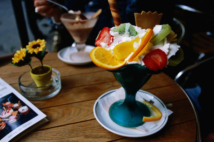Ice-cream with fruit.