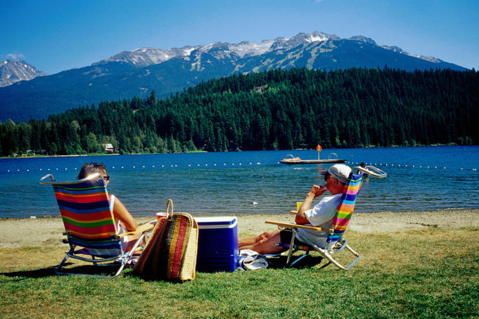 Couple relaxing on shore of Alta Lake, Rainbow Park.
