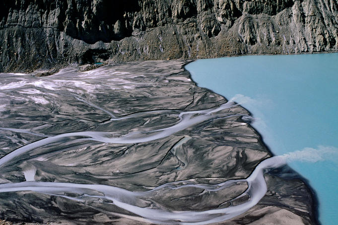 Glacial lake and streams at base of Gangapurna Glacier.
