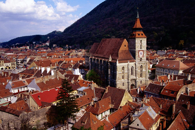 Overhead of Black Church and medieval houses, Transylvania.