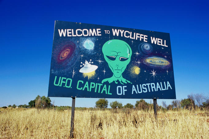 Welcome sign to the UFO capital.