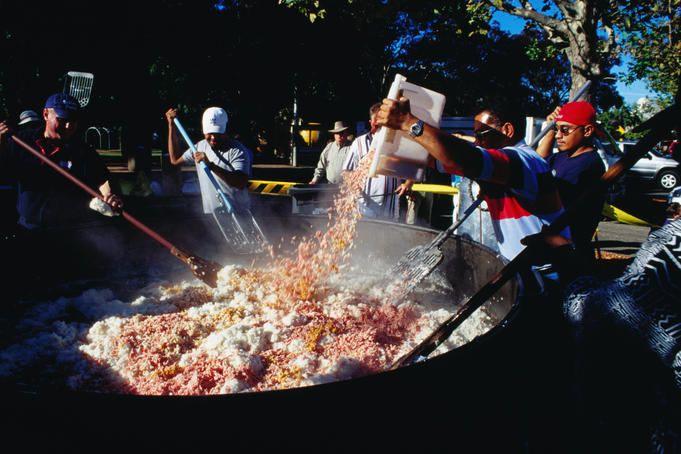 Making Australia's largest fried rice at the Easter Sunrice Festival.