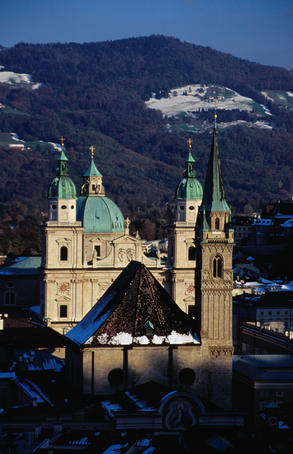 Churches seen from Monschberg Hill.