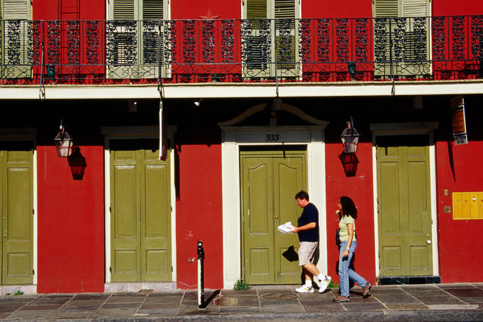 Buildings in Toulouse street in French Quarter.