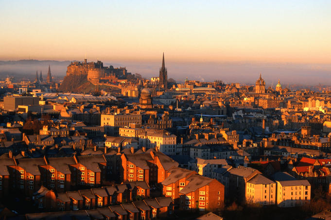 Edinburgh Castle and Old Town viewed from Arthur's Seat.