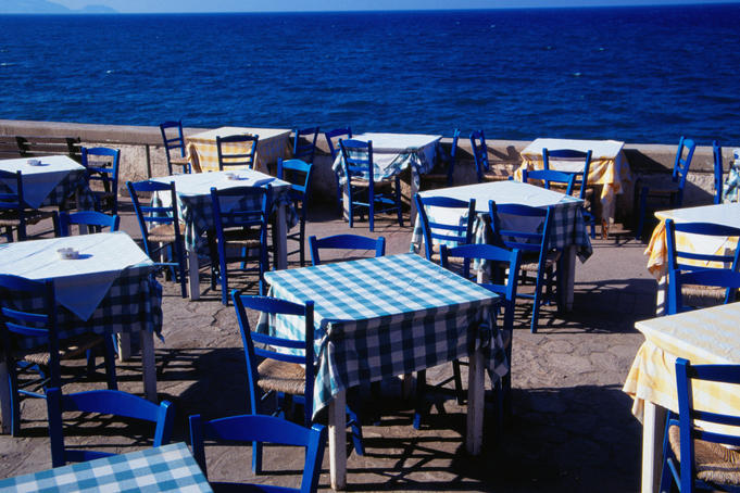 Restaurant tables out on the waterfront - Iraklio, Iraklio Province, Crete