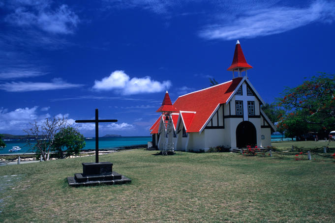 Red roofed chapel.