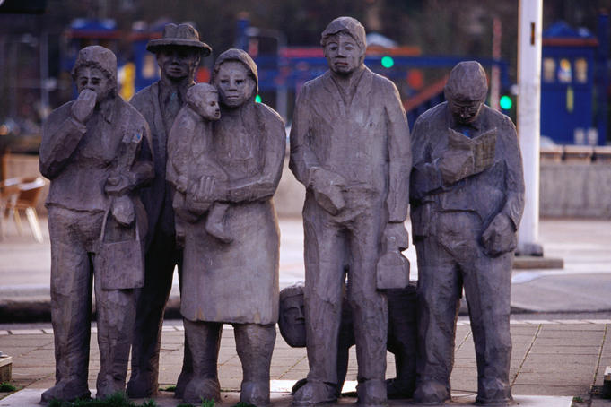 "Cast-aluminum sculpture ""People Waiting for the Interurban"", 1978, is sometimes dressed, sometimes not in Fremont."