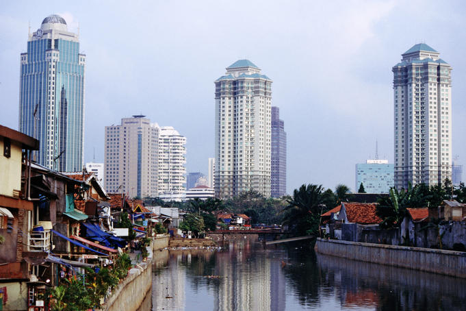 Looking down the canal to the city skyline, Jakarta