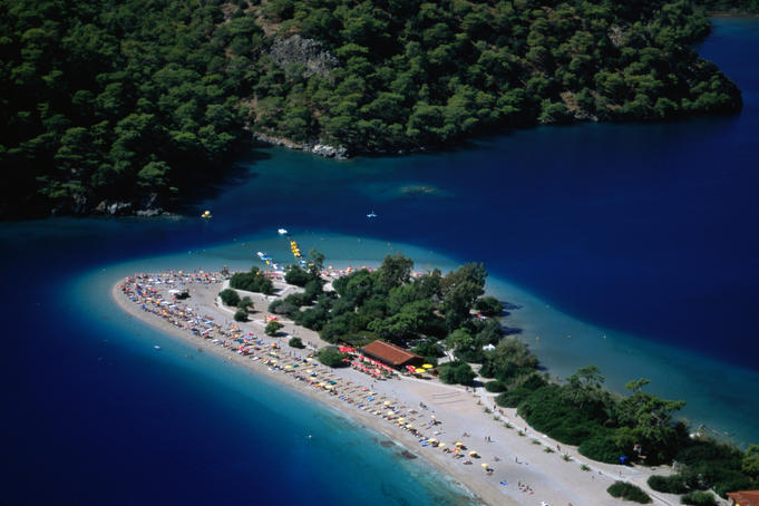 Aerial of Oludeniz from paraglider.