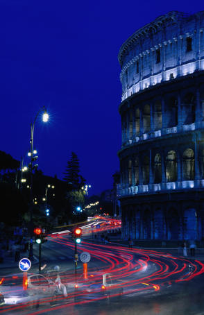 Roman Colosseum at night.