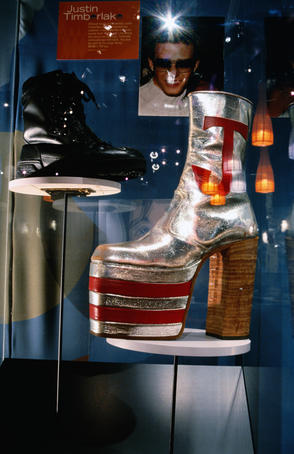Shoes of Justin Timberlake and Elton John in Bata Shoe Museum.
