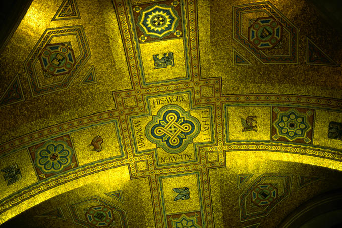 Vaulted ceiling mosaic in main entrance to Royal Ontario Museum.