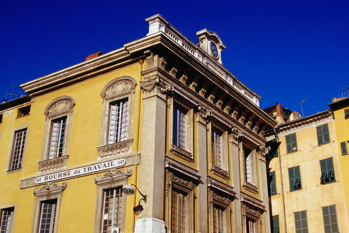Exterior of traditional stucco buildings, Vieux Nice.