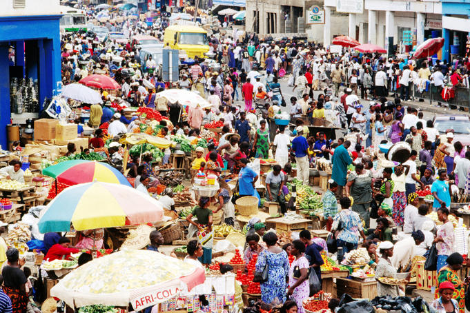 Crowded Makola Market in central Accra.