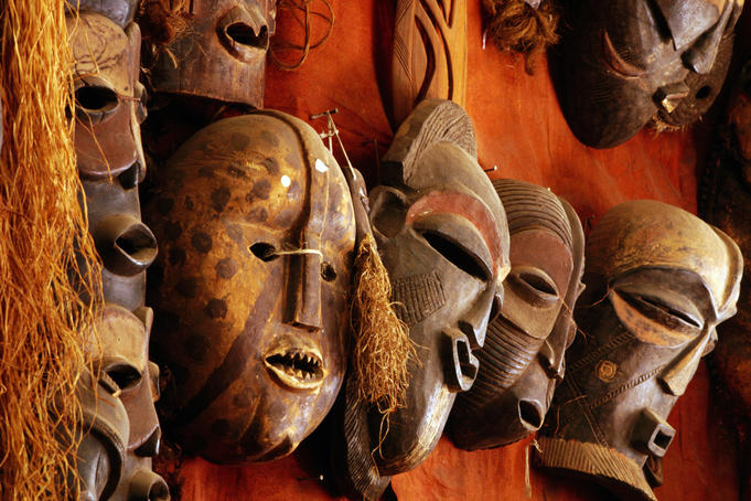 Masks in craft shop.