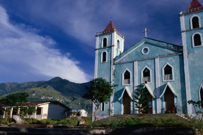 Exterior of Catholic Church.