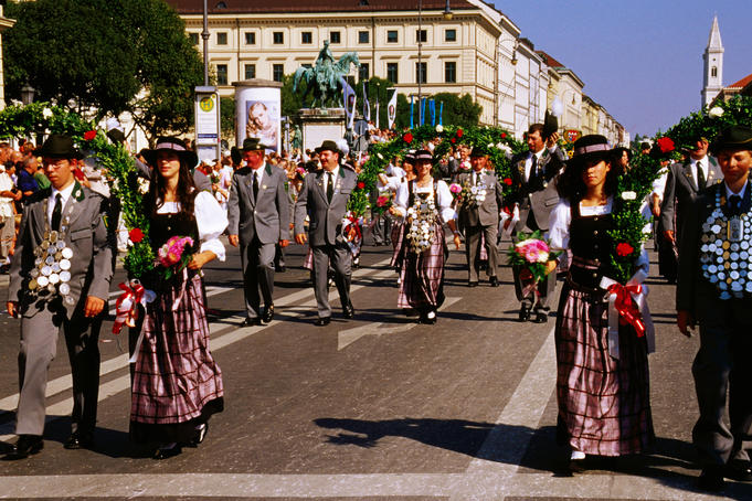 Participants in traditional costume during Oktoberfest brewer's parade.