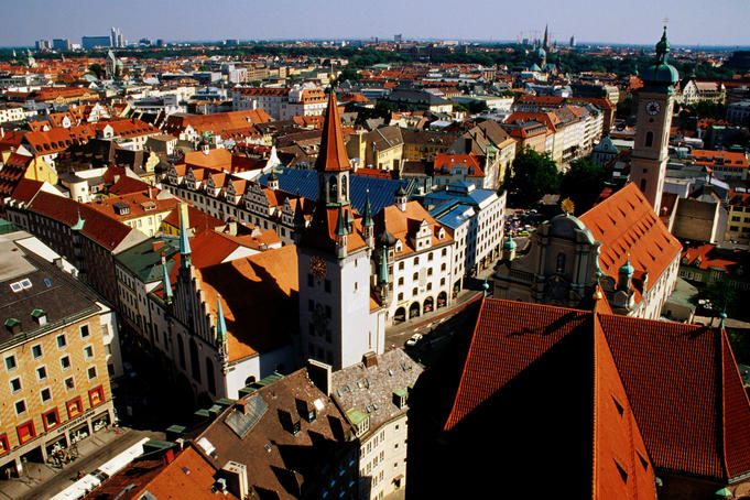 Overhead of historic town quarter from tower of St Peter's Church, Marienplatz.