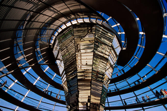 Interior of Reichstag parliament building.