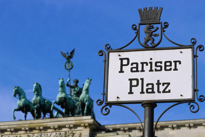 Pariser Platz sign and Brandeburg Gates Quadriga, Mitte.