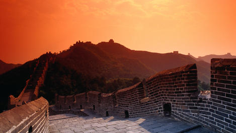 Great Wall of China at sunset.