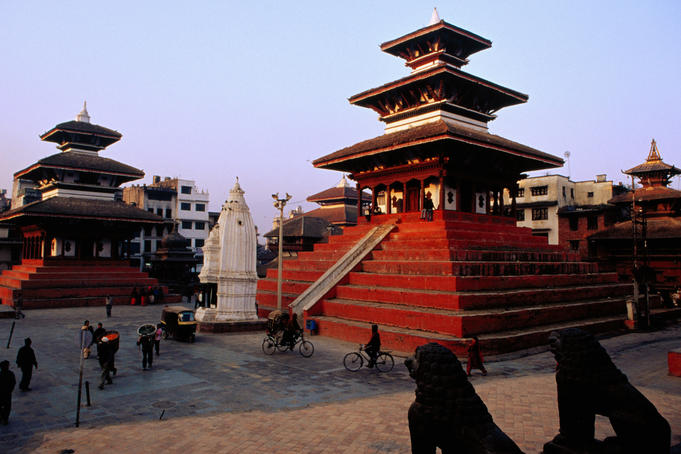 Maju Deval Temple (right), Shikara-style stupa (centre) and Trailokya Mohn Narayan Temple (left) in Durbar Square.