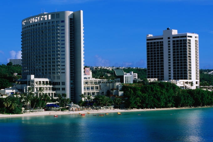 Resort hotels along the bay.