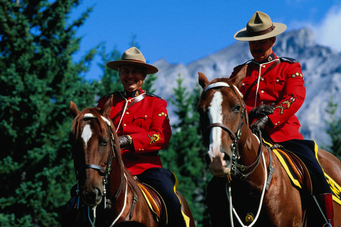 Mounties on horseback.