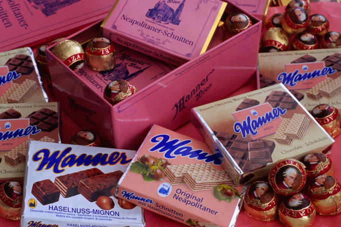 Variety of Manner Schnitten chocolate wafers and Mozart balls.