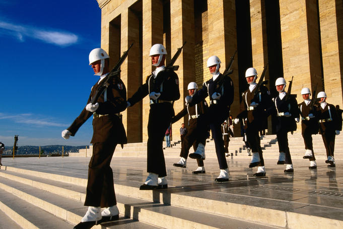 Changing of guard at Anit Kabir Mausoleum at Ataturk Monument.