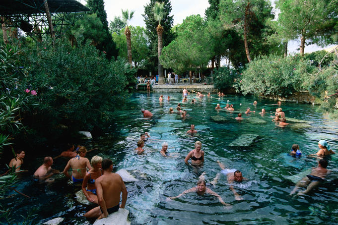 Bathers in Pamukkale thermal baths.