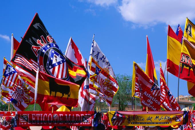Souvenir flags of football club Atletico de Madrid at Estadio Vicente Calderon