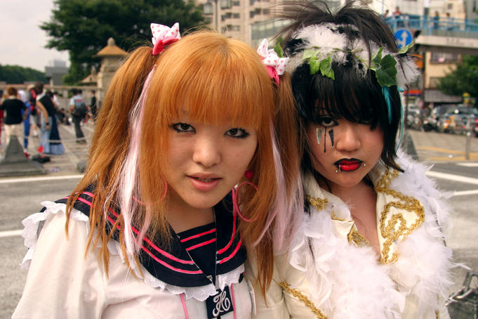 Portrait of Coz-play-zoku (costume play gang) members, Meji jingu bridge, Harajuku.